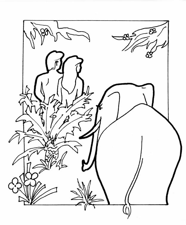 the elephant in eden coloring book - Garden Of Eden Coloring Page